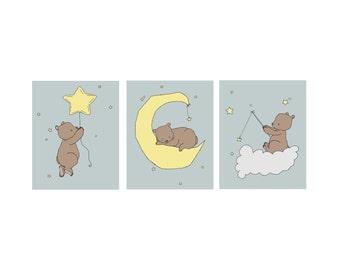 Woodland Nursery Art -- Bear Moon And Stars Art -- Set of 3 Prints -- Woodland Nursery Decor --  Kids Wall Art