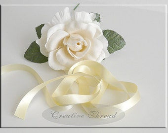 "Pure Silk Satin Ribbon -  Double Faced, Double Sided Silk Satin Ribbon - Soft Buttery Yellow - 5/8"" Wide"