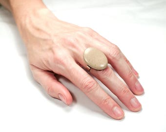 Ring in natural stone and stainless steel No. 03/18-1