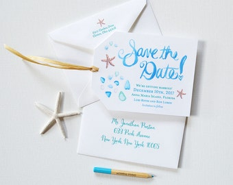 Original Save the Date Luggage Tags / Beach Wedding Save the Date / Qty 160 / Nautical Starfish and Sea Glass Watercolor Illustrations