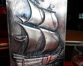 Bronze tin Book, Sailing Ships, vintage
