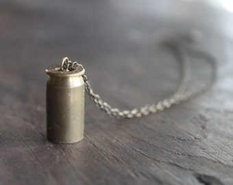 Jesup .45 Bullet Casing Pendant Necklace on Antique Brass Chain - Unexpected - Get Lots of Street Cred Overnight