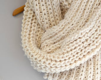 Big Knit Scarf, Oversized Knit Scarf Pattern, Easy Knit Scarf Pattern, Knitting Pattern, Cream Colored Scarf, Infinity Scarf, White Scarf