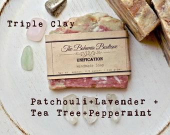 Peppermint Soap - Lavender Soap - Patchouli Soap - Tea tree Soap - Unification - Essential Oil Soap / Essential oil + Clay - all natural
