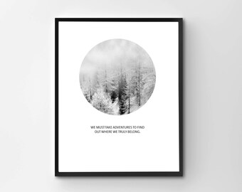 Mountain Art Print, Inspirational Print, Scandinavian Print, Modern Circle Print, Motivational Poster, Inspirational, Printable Art