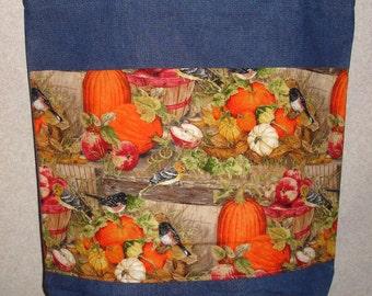 New Handmade Large Fall Autumn Pumpkins Squash Apples Denim Tote Bag