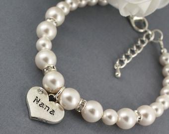 Nana Bracelet Swarovski Bracelet Bracelet for Grandma Bridal Party Bracelet Wedding Jewelry Pearl Bracelet Available in White/Ivory