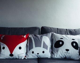 Animal Cushion with Pom Pom Tail