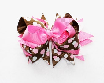 """5"""" Hair Bow, Pink and Brown Hair Bow, Stacked Boutique Hair Bows, Pigtail Hair Bow Set, Hair Bow & Barrettes, Hair Clips and Bows, Hair Bows"""