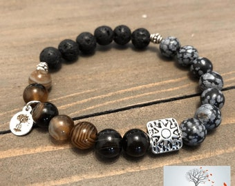 "Natural Stone Elastic Bracelet - ""Strength of Character"" (Sardonyx, Snowflake Obsidian, and Lava Rock)"