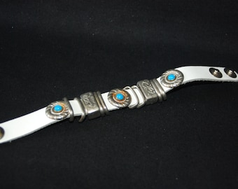 Conchos bracelet - country western style vintage white leather cuff bracelet - boho bohemian hippie hipster accessories - western jewelry