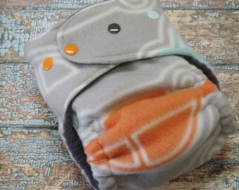 One Size Windpro Fleece AI2 Hybrid Fitted Cotton Cloth Diaper Gray Cars All in Two