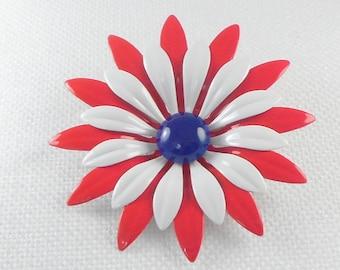 Vintage BIG Red, White, and Blue Enamel Flower Pin Brooch Huge Tri Color Flower Pin Mod 60's Big Flower Power Pin Big Mod Enamel Flower Pin