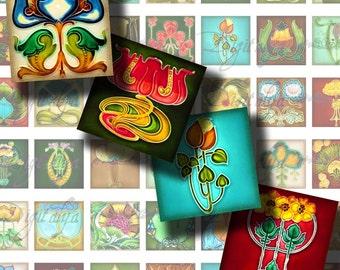 Déco (1) feuille de Collage numérique - carrés 1 x 1 ou 0,875 floral ou le scrabble - motif Art déco Art Nouveau Floral - Buy 3 Get 1 supplémentaire gratuit