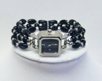 Silver Plated Box Watch w/Jet Twist Bead Bracelet