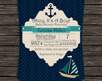 Nautical Baby Boy Shower Invitation - Instantly Downloadable and Editable File Personalize with Adobe Reader