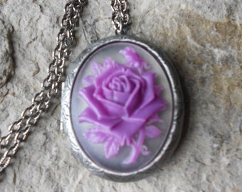Antique Silver Plated Cameo Locket!!! Lilac - Purple Rose - Gorgeous Colors - High Quality  Weddings, Photos, Keepsakes