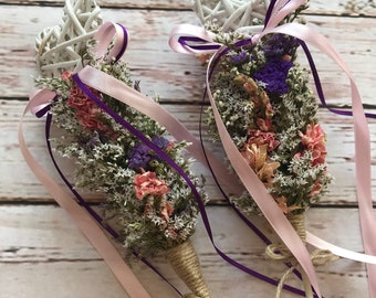 Beautiful Flower Girl Wand. Made from Natural Dried Flowers and Grasses for a rustic, vintage or country feel. ANY COLOUR