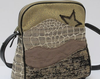 SHOULDER BAG by Elizabeth Z Mow Fabric Leather Collage Art Bag Star Light Star Bright