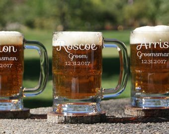 Personalized Beer Mug 12oz. / Groomsmen Gifts / Beer Mug with Handle / 6 Custom Engraved Beer Glasses / Etched Glassware / Grooms Gift