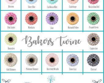 Bakers Twine 20, 30, 40 & 60 yards - Cotton floss string. Gift wrap cord. Packaging touches. Ribbon Craft Supplies. Colored twine for crafts