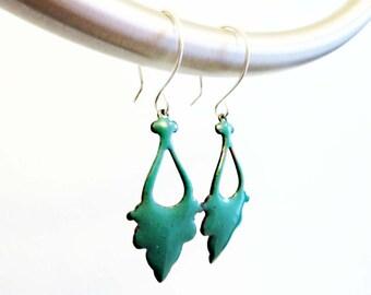 Glass Enamel, Sterling Ear Wires, Turquoise Blue Colorful Jewelry, Kiln-Fired, Moroccan, Sakina Enamel Earrings