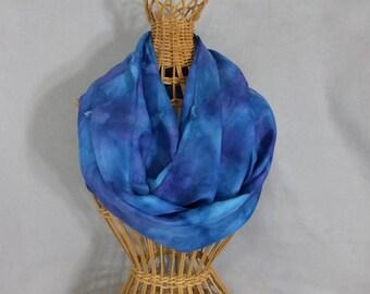 "Silk Infinity Scarf ""True Blue"", Hand Painted Silk Scarf, Circle Scarf"