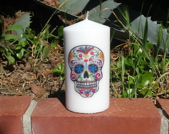 Day of the Dead Sugar Skull 3x6 Pillar Candle