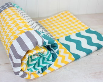 Baby Blanket, Nursery Decor, Minky Baby Blanket, Patchwork Quilt, Baby Quilt, Baby Shower Gift, Yellow, Gray, Grey, Teal, White