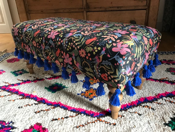 Bespoke Made to Order Custom Footstool Ottoman Rifle Paper Co Company Folk Birds Furnishing Fabric Blue Tassel Trim