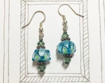 Beautiful Blue Vs Green Lampwork Glass Bead Earrings, Swarovski Crystal Earrings, Dangle Earrings, Birthday Gift, Christmas Gift