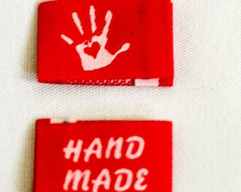 28 Selfmade Handmade with Love labels Web label 14 colors selectable-knitting label, Fabric label, clothing label, Wovenlabel