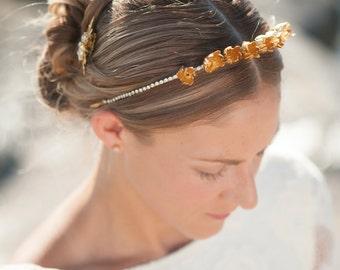 bridal gold Tiara, bridal gold crown, bridesmaid gift, flower crown bridal, wedding headpiece, gold headpiece, Bridal headband -Marcelle