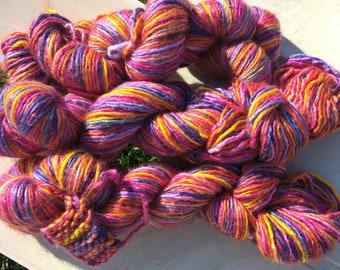 Hand Dyed Silk Merino Heavy Worsted Singles yarn in Orange, Yellow, Purple,Fuchsia