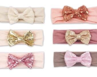 sequin bow headband, sparkle bow headband, bow headwrap, baby headband, turban headband, floppy bow headband, big bow headband, headband