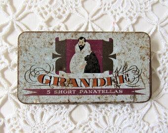 Grandee Cigar Tin. Vintage Cigar Tin. Grandee Panatella's Tin.  Lambert & Butler Cigar Tin. Rusted Cigar Tin. Small  Vintage Tin. 1960's Tin