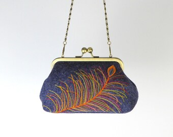 Embroidered clutch purse, Peacock feather embroidered clutch purse with snap closure and chain strap, Free hand embroidered, Evening bag