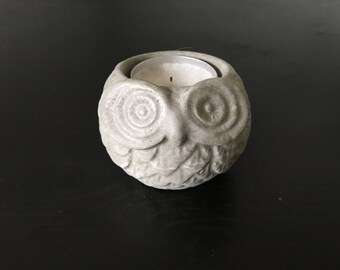 Concrete Owl Candleholder - Decorative Object