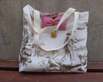 tote bag, Tote and its Kit jouy canvas, and bow raspberry