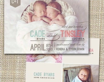 twins photo birth announcement, twin baby announcement, modern twin announcement, printable birth announcement cards