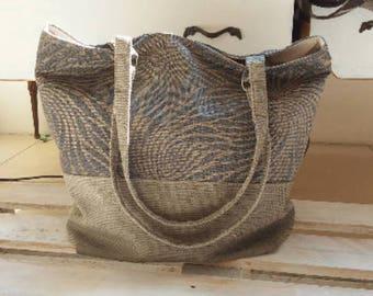 Grey fabric bag with handles