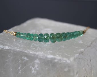 Emerald Necklace, Zambian Emerald Necklace, Gemstone Bar Necklace, Emerald Choker, May Birthstone