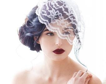 Lace Birdcage Veil, Birdcage Veil, Birdcage Bridal Veil, Birdcage Veil Lace, Illusion Lace Veil, Lace Blusher, White, Black MEGGIE