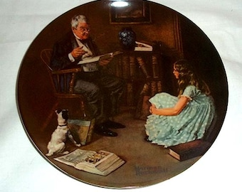 Knowles Norman Rockwell Collectors' Plate The Storyteller / Eighth in Rockwell Heritage Collection / Limited and Numbered