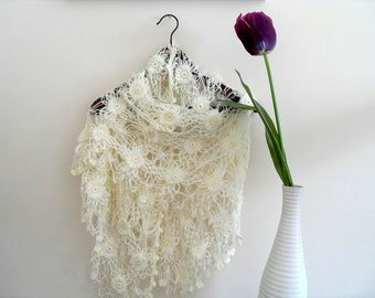 Bridal Shawl-Hand Knitted Ivory Romantic Shawl With Cheerful Flowers And Sym-Valentine's day Day Tulip TeamT