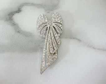 Art Deco Bow Dress Clip. Antique Rhinestone Statement Jewelry. 1920s Fine Antique Wedding Jewelry. Vintage Bridal Sash Pin