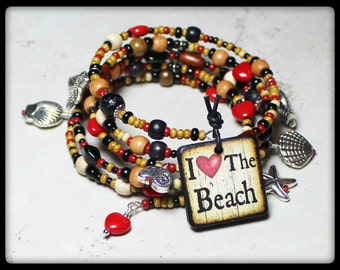 Beach Boho... Handmade Jewelry Bracelet Beaded Glass Wood Memory Wire Adjustable Silver Red Black Brown Sand Ocean Seashell Starfish Sea