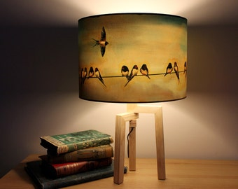 Swallows Drum Lampshade by Lily Greenwood