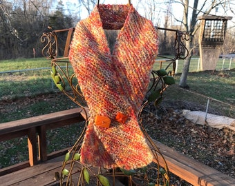 Hand-Knit Scarf with Novelty Buttons