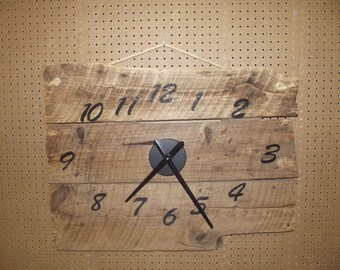 large barnwood clock with heavy rope hanger, authentic old barn wood from crib, reclaimed, repurposed wood